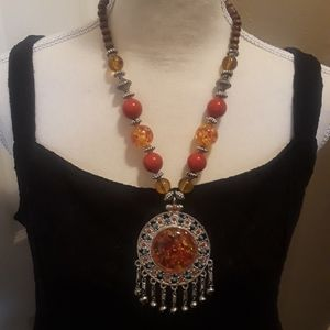 Jewelry - Amber Boho Festival Necklace